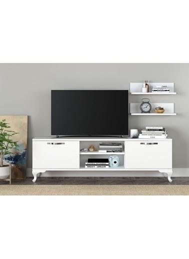 Sanal Mobilya Ezo Raflı Kapaklı Tv Ünitesıbeyaz Beyaz